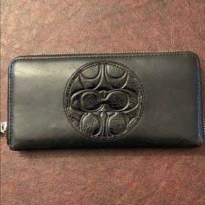 Coach black accordion wallet
